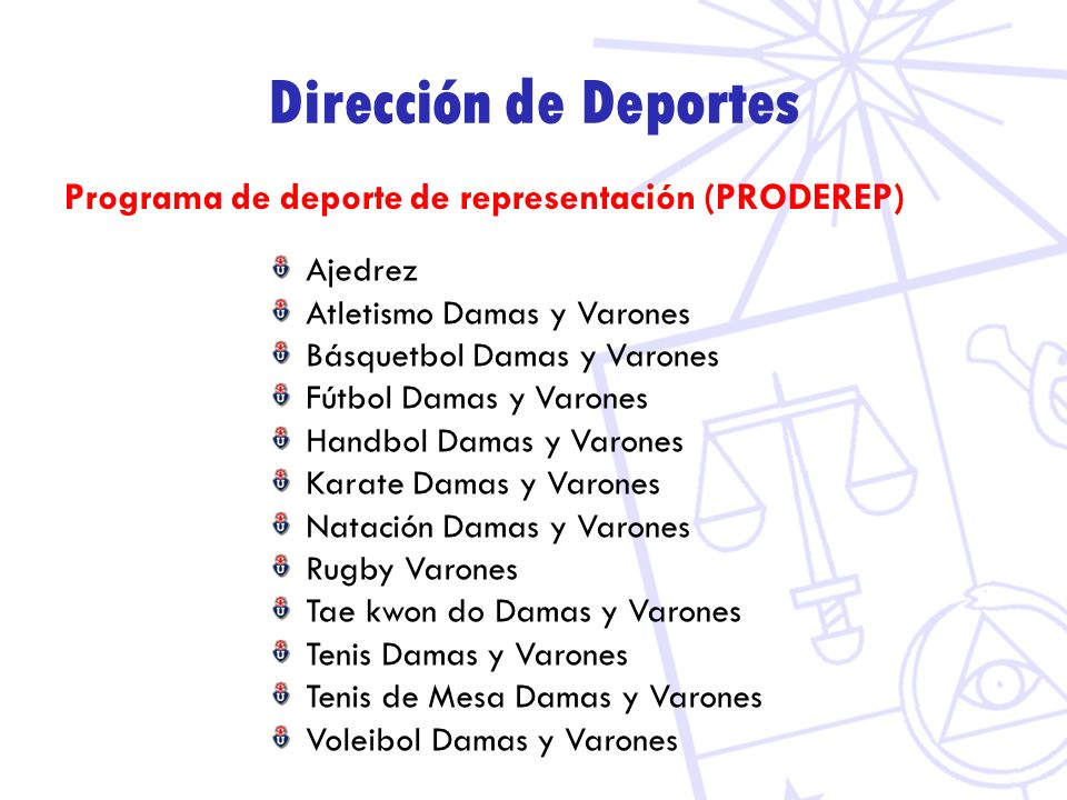 Dirección de Deportes Programa de deporte de representación (PRODEREP)