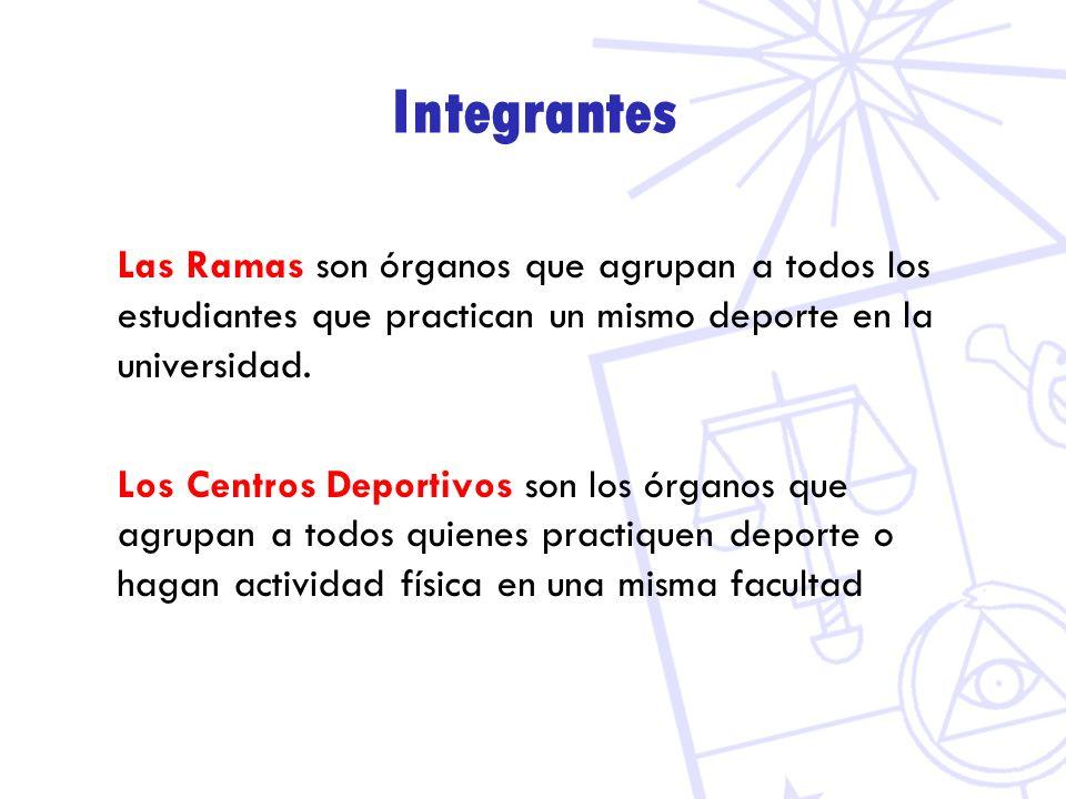 Integrantes Las Ramas son órganos que agrupan a todos los estudiantes que practican un mismo deporte en la universidad.