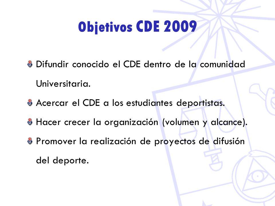 Objetivos CDE 2009 Difundir conocido el CDE dentro de la comunidad Universitaria. Acercar el CDE a los estudiantes deportistas.