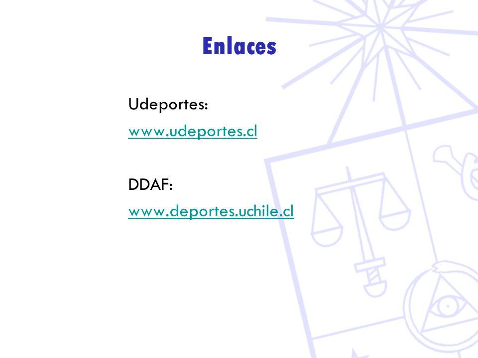 Enlaces Udeportes: www.udeportes.cl DDAF: www.deportes.uchile.cl