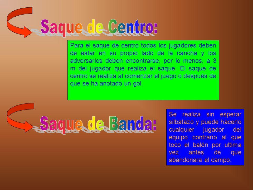 Saque de Centro: Saque de Banda: