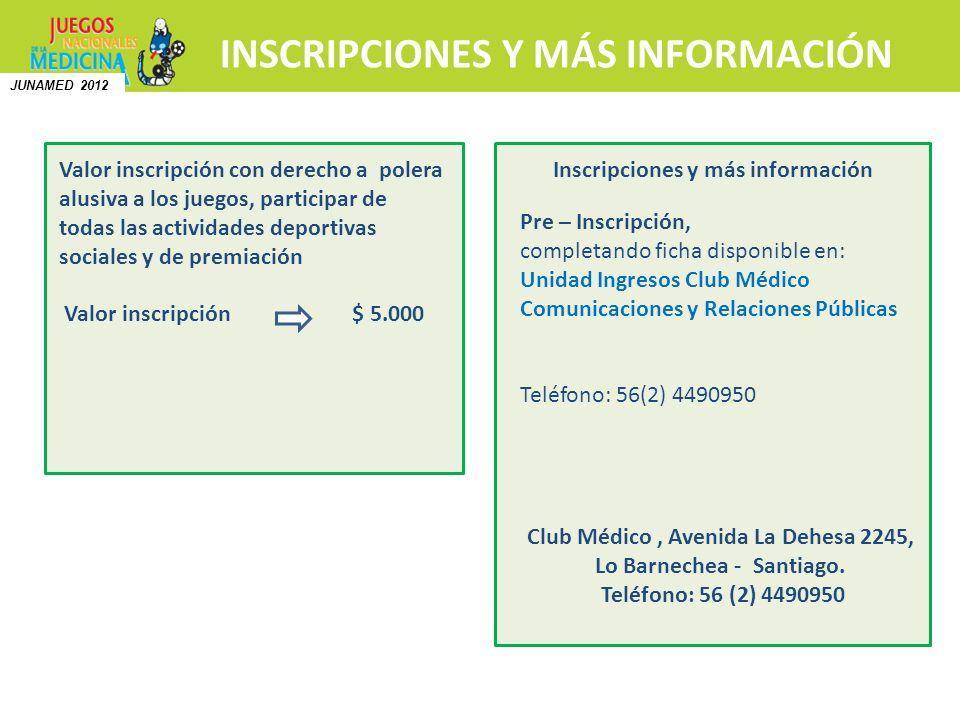 INSCRIPCIONES Y MÁS INFORMACIÓN