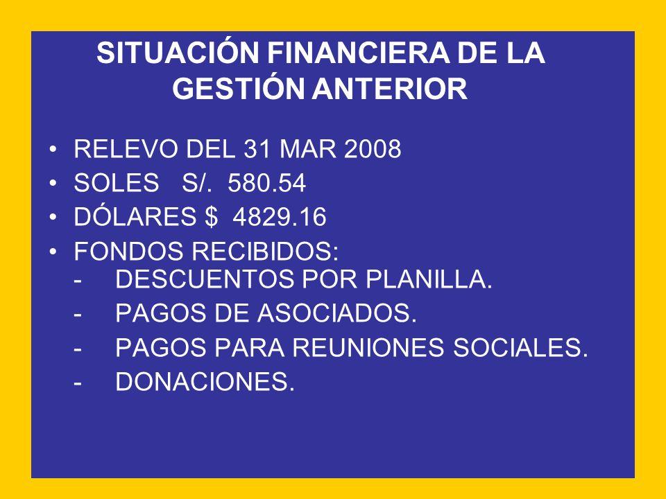 SITUACIÓN FINANCIERA DE LA GESTIÓN ANTERIOR