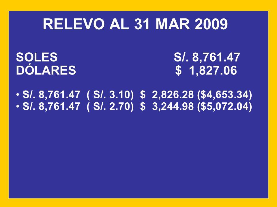 RELEVO AL 31 MAR 2009 SOLES S/. 8,761.47 DÓLARES $ 1,827.06