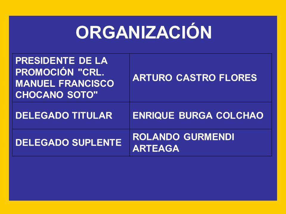 ORGANIZACIÓN PRESIDENTE DE LA PROMOCIÓN CRL. MANUEL FRANCISCO CHOCANO SOTO ARTURO CASTRO FLORES.
