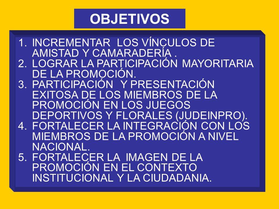 OBJETIVOS INCREMENTAR LOS VÍNCULOS DE AMISTAD Y CAMARADERÍA .