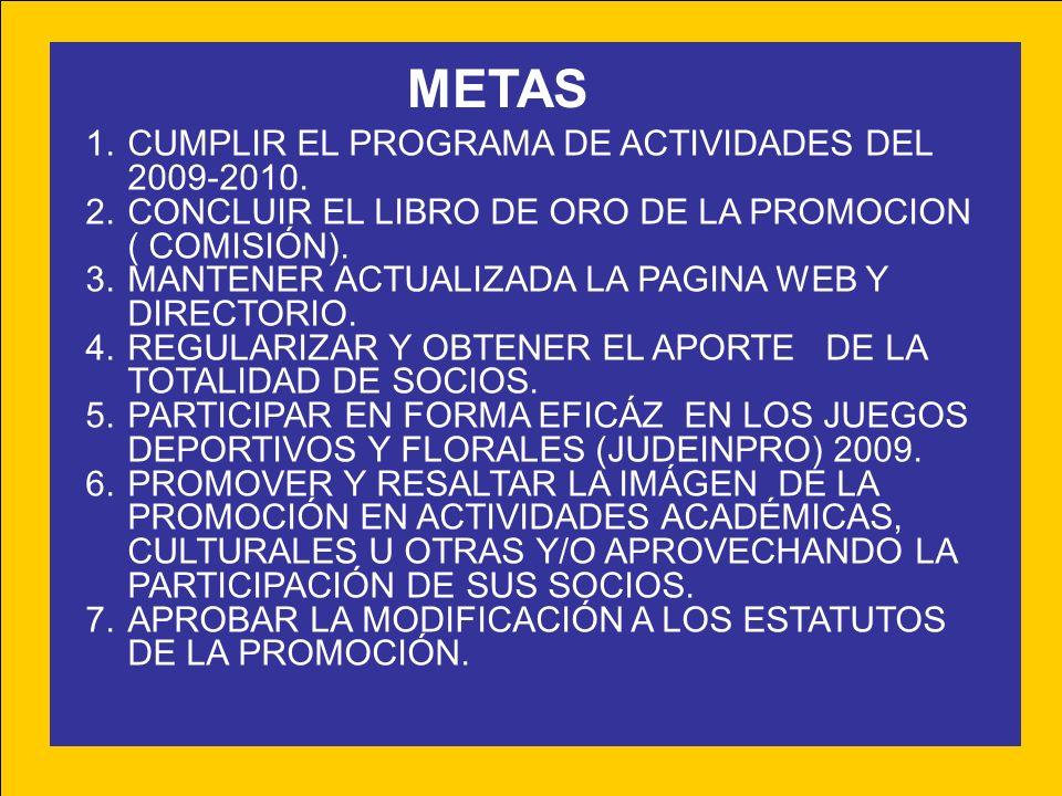 METAS CUMPLIR EL PROGRAMA DE ACTIVIDADES DEL 2009-2010.