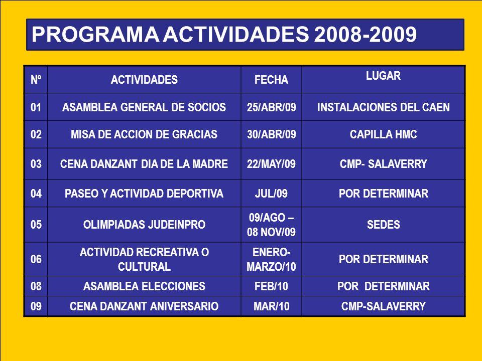 PROGRAMA ACTIVIDADES 2008-2009