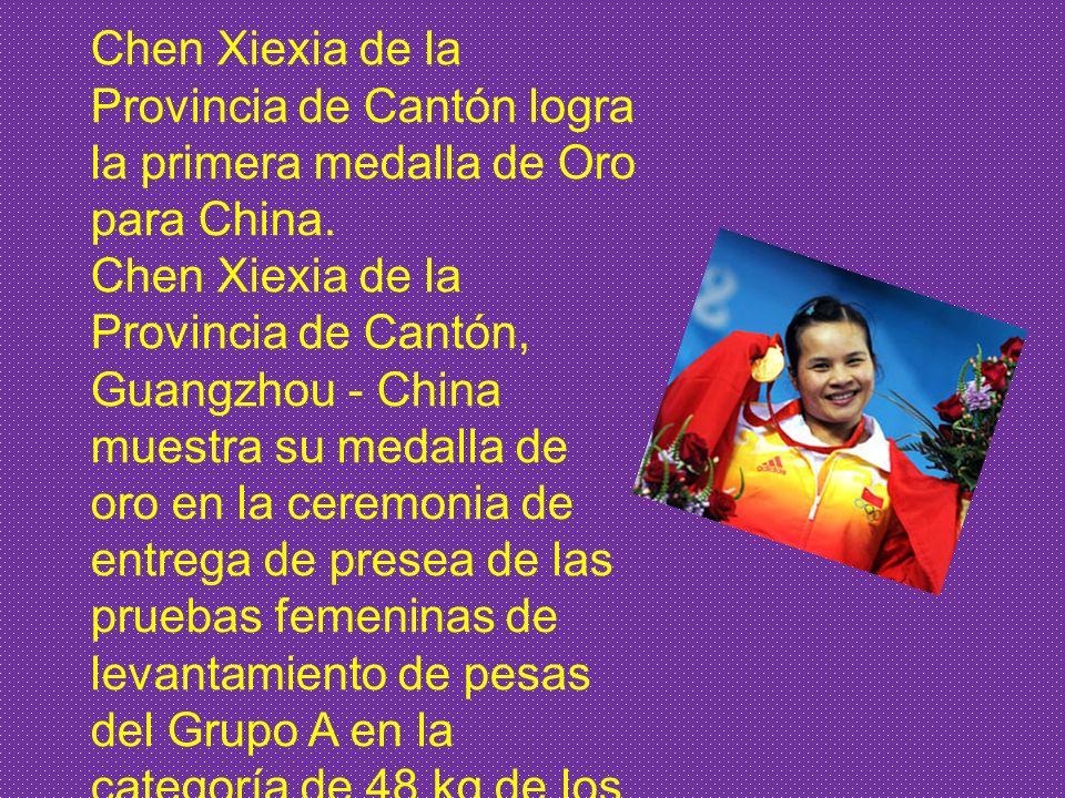Chen Xiexia de la Provincia de Cantón logra la primera medalla de Oro para China.