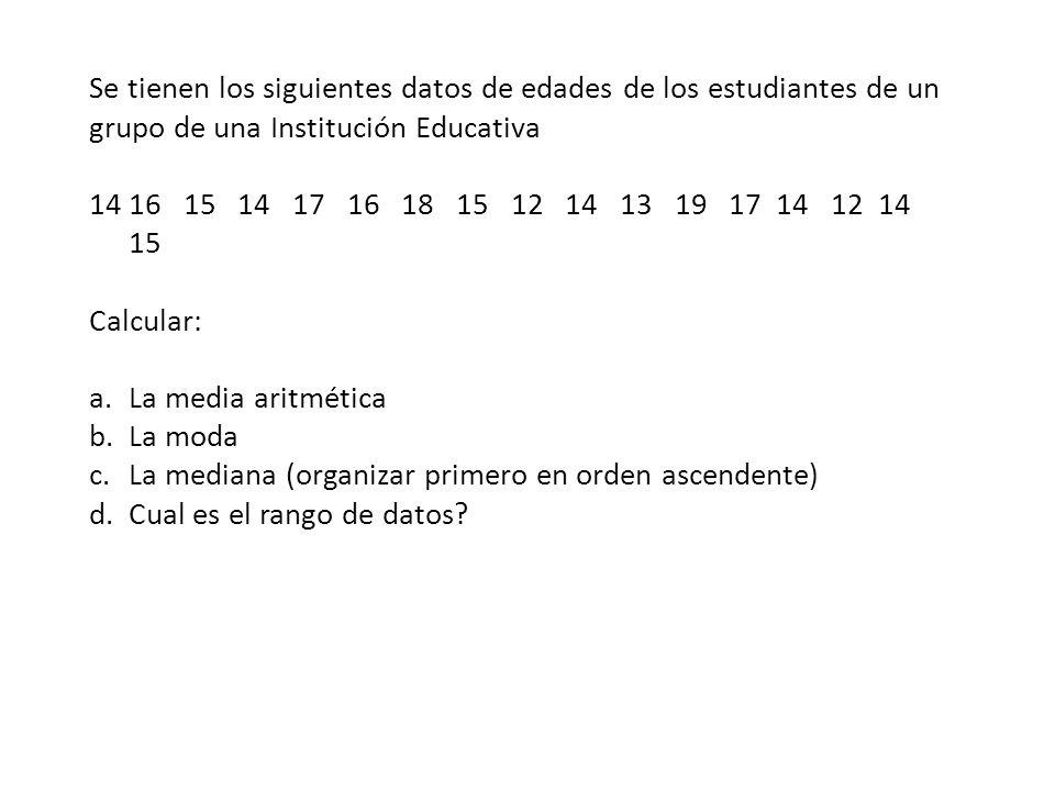 Se tienen los siguientes datos de edades de los estudiantes de un grupo de una Institución Educativa