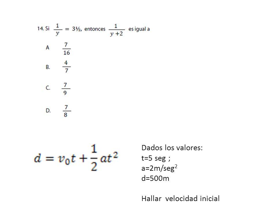 Dados los valores: t=5 seg ; a=2m/seg2 d=500m Hallar velocidad inicial