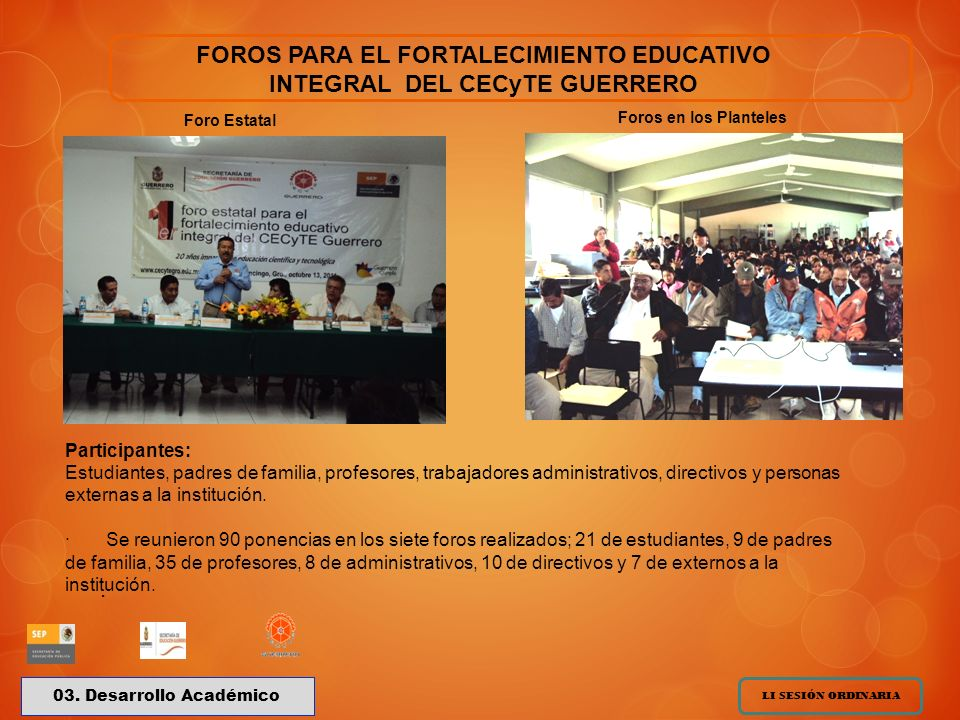 FOROS PARA EL FORTALECIMIENTO EDUCATIVO INTEGRAL DEL CECyTE GUERRERO