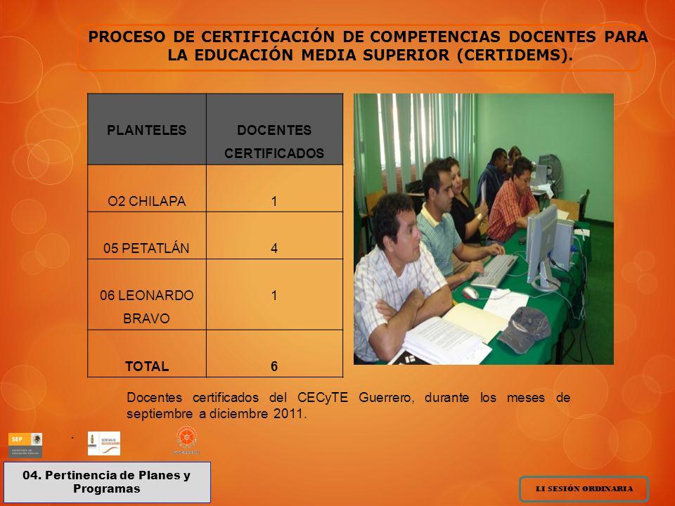 PROCESO DE CERTIFICACIÓN DE COMPETENCIAS DOCENTES PARA