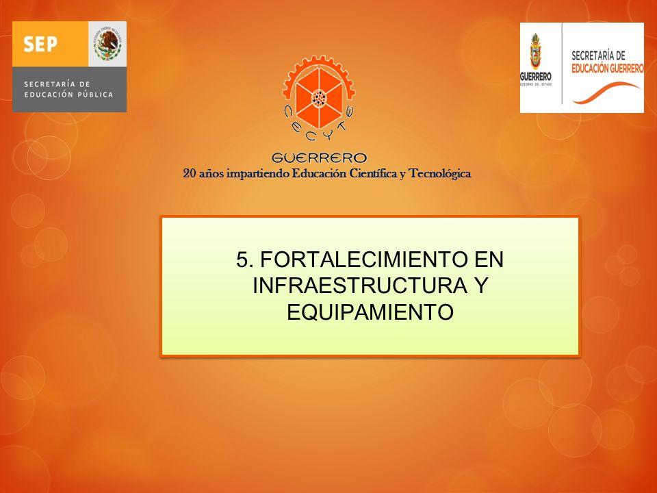 5. FORTALECIMIENTO EN INFRAESTRUCTURA Y EQUIPAMIENTO