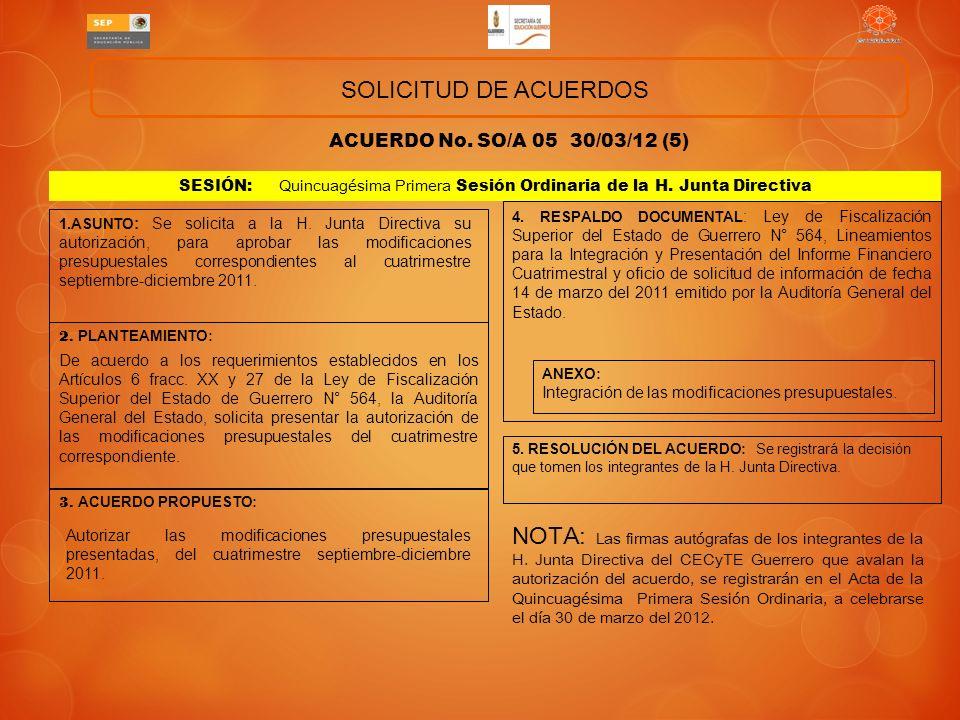 SOLICITUD DE ACUERDOS ACUERDO No. SO/A 05 30/03/12 (5) SESIÓN: Quincuagésima Primera Sesión Ordinaria de la H. Junta Directiva.
