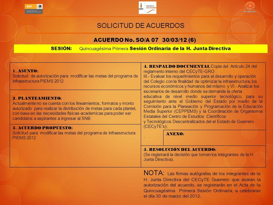 SOLICITUD DE ACUERDOS ACUERDO No. SO/A 07 30/03/12 (6) SESIÓN: Quincuagésima Primera Sesión Ordinaria de la H. Junta Directiva.