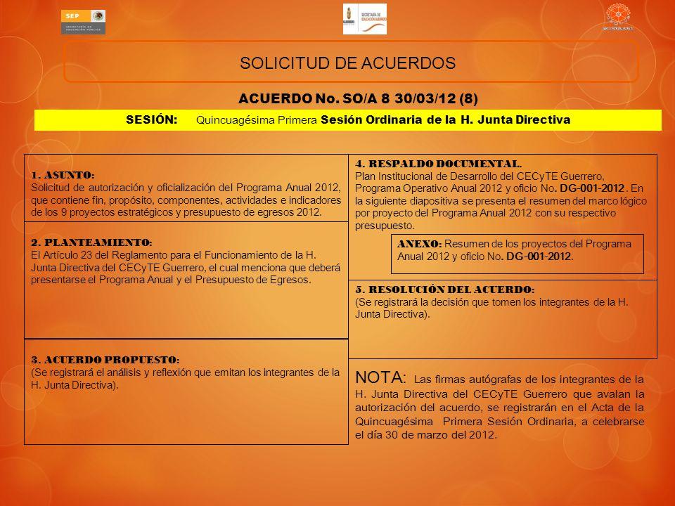 SOLICITUD DE ACUERDOS ACUERDO No. SO/A 8 30/03/12 (8) SESIÓN: Quincuagésima Primera Sesión Ordinaria de la H. Junta Directiva.