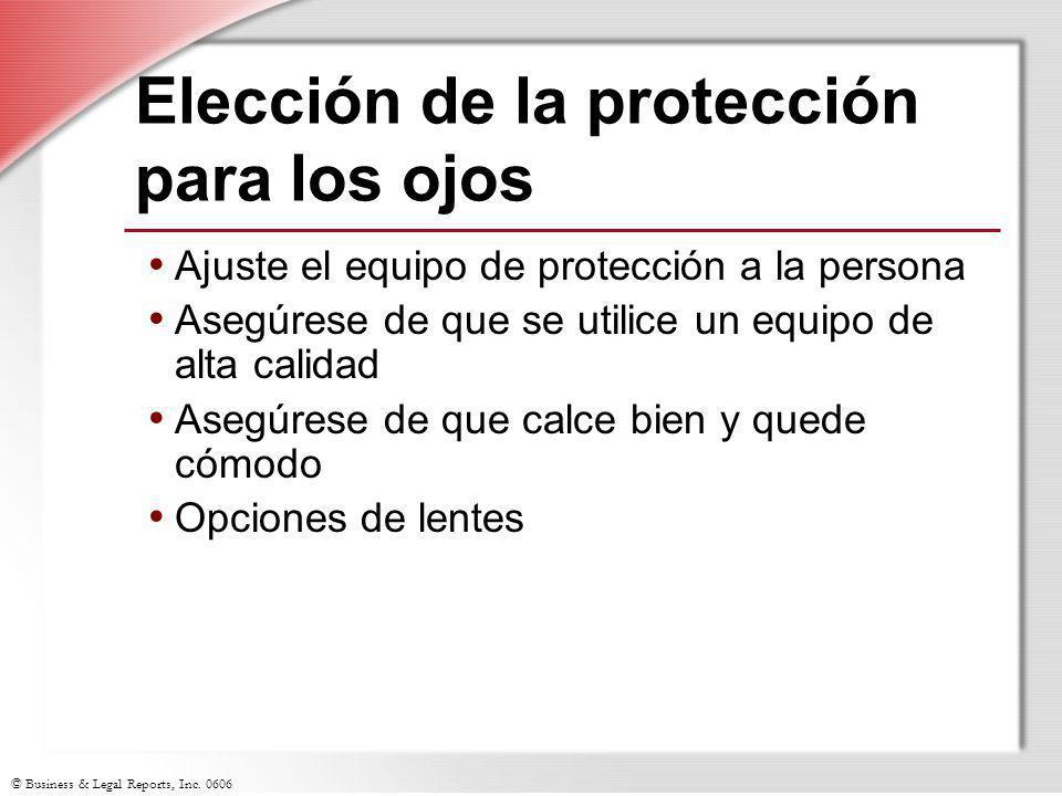 Elección de la protección para los ojos
