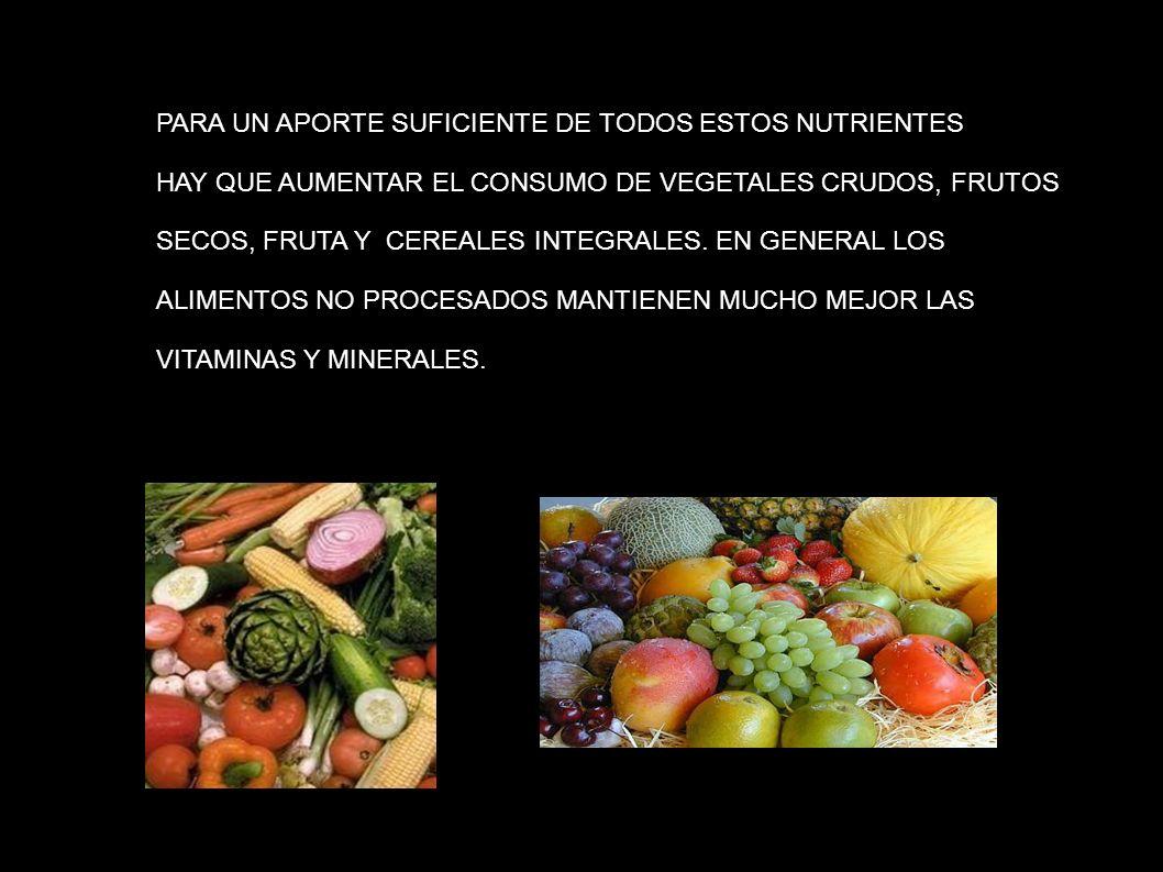 PARA UN APORTE SUFICIENTE DE TODOS ESTOS NUTRIENTES