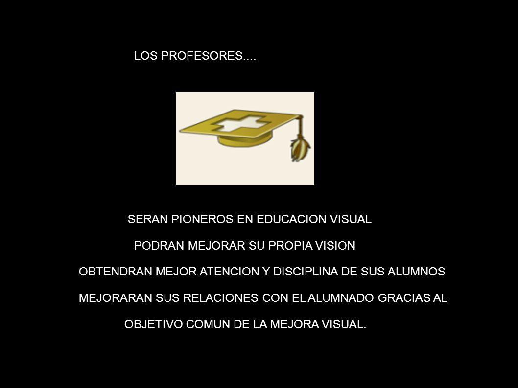 LOS PROFESORES: LOS PROFESORES.... SERAN PIONEROS EN EDUCACION VISUAL. PODRAN MEJORAR SU PROPIA VISION.