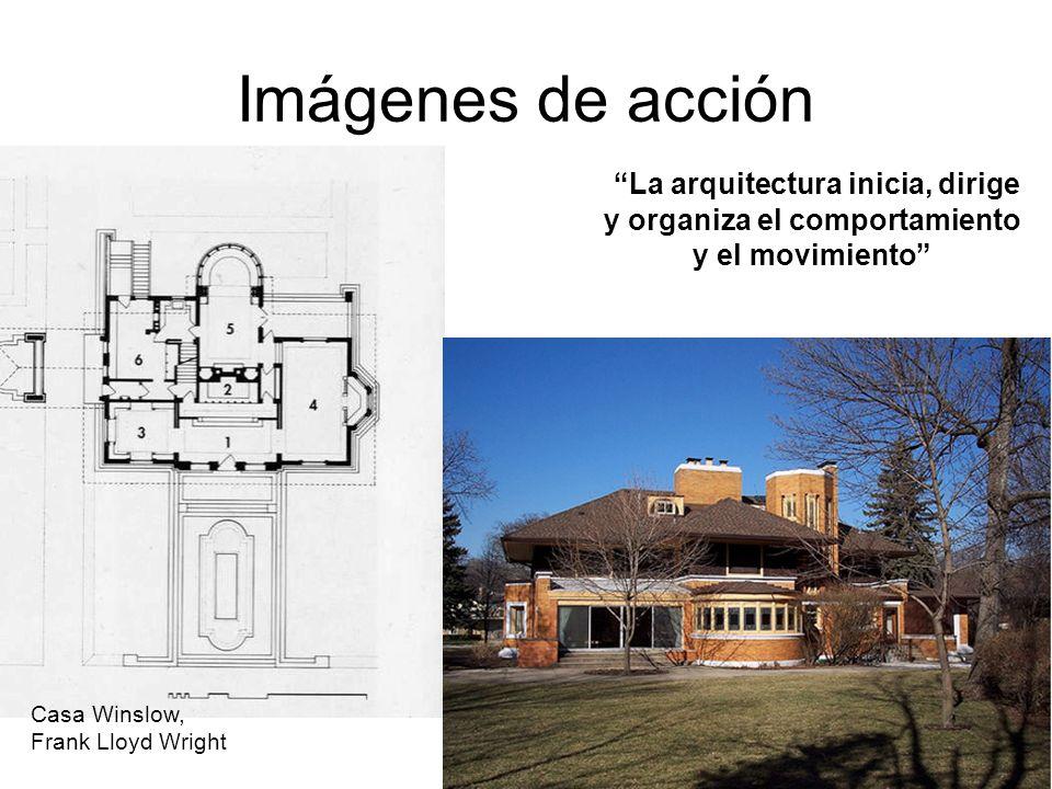 Imágenes de acción La arquitectura inicia, dirige y organiza el comportamiento y el movimiento Casa Winslow,
