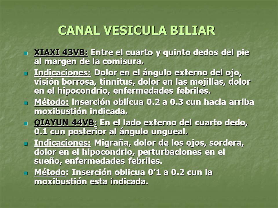 CANAL VESICULA BILIAR XIAXI 43VB: Entre el cuarto y quinto dedos del pie al margen de la comisura.