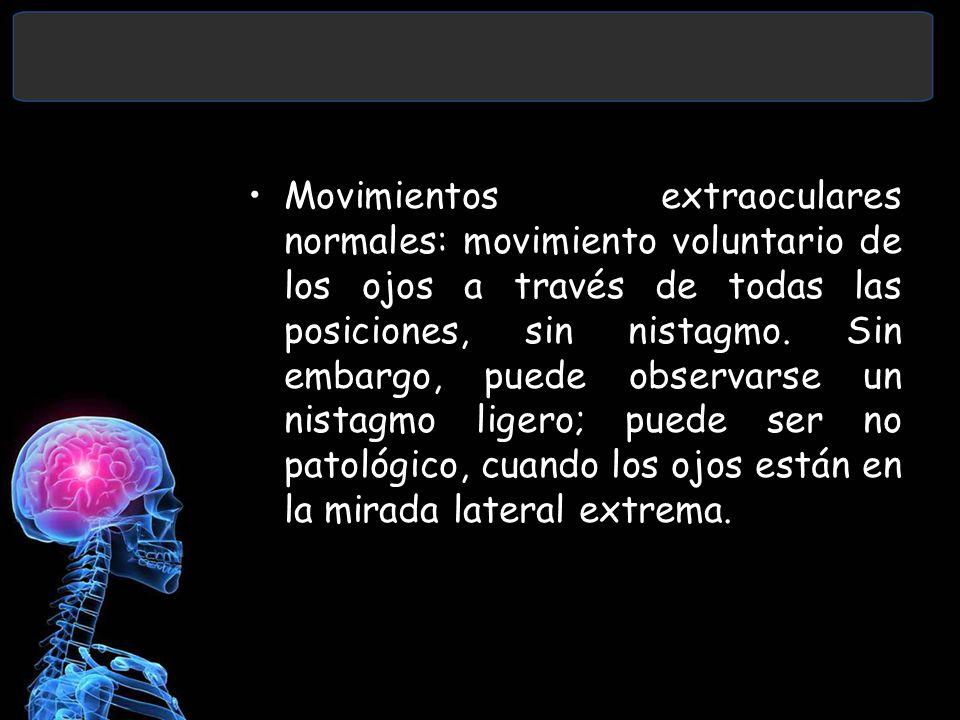 Movimientos extraoculares normales: movimiento voluntario de los ojos a través de todas las posiciones, sin nistagmo.