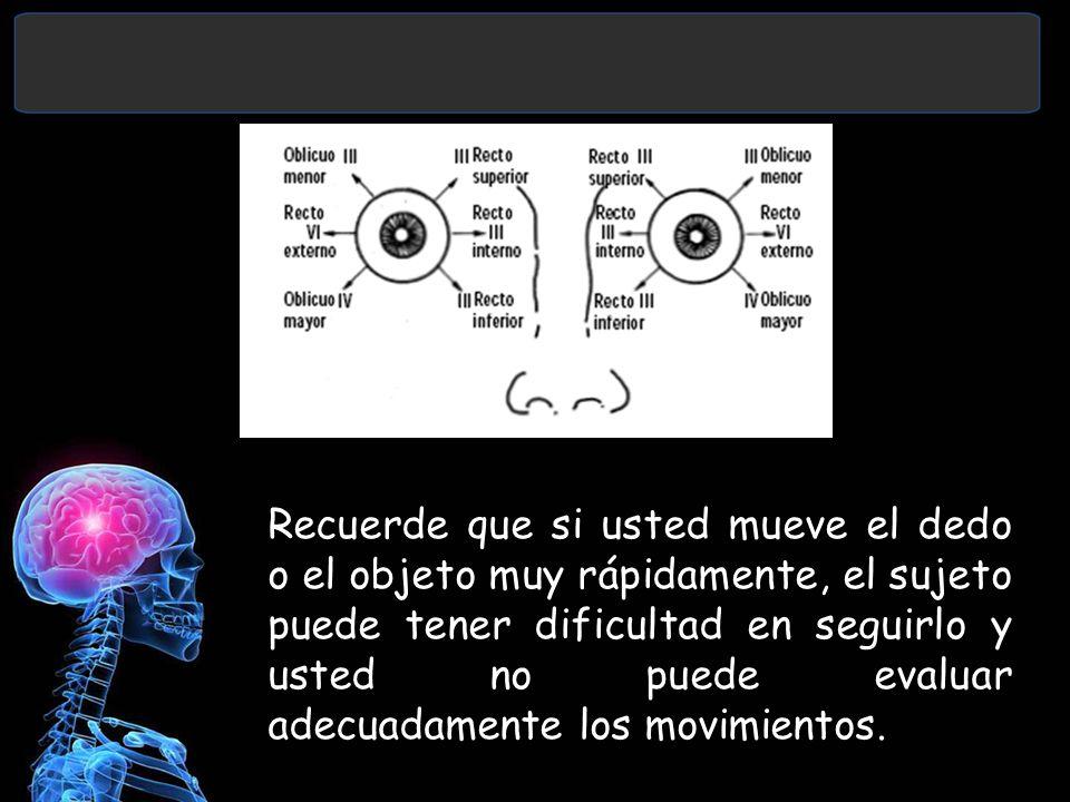 Recuerde que si usted mueve el dedo o el objeto muy rápidamente, el sujeto puede tener dificultad en seguirlo y usted no puede evaluar adecuadamente los movimientos.