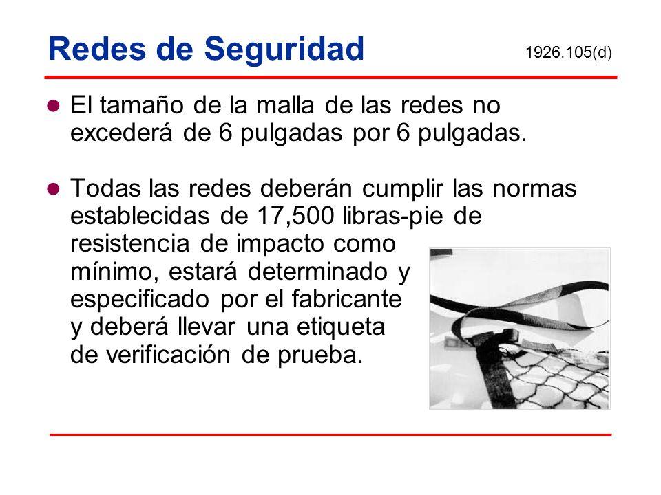 Redes de Seguridad 1926.105(d) El tamaño de la malla de las redes no excederá de 6 pulgadas por 6 pulgadas.