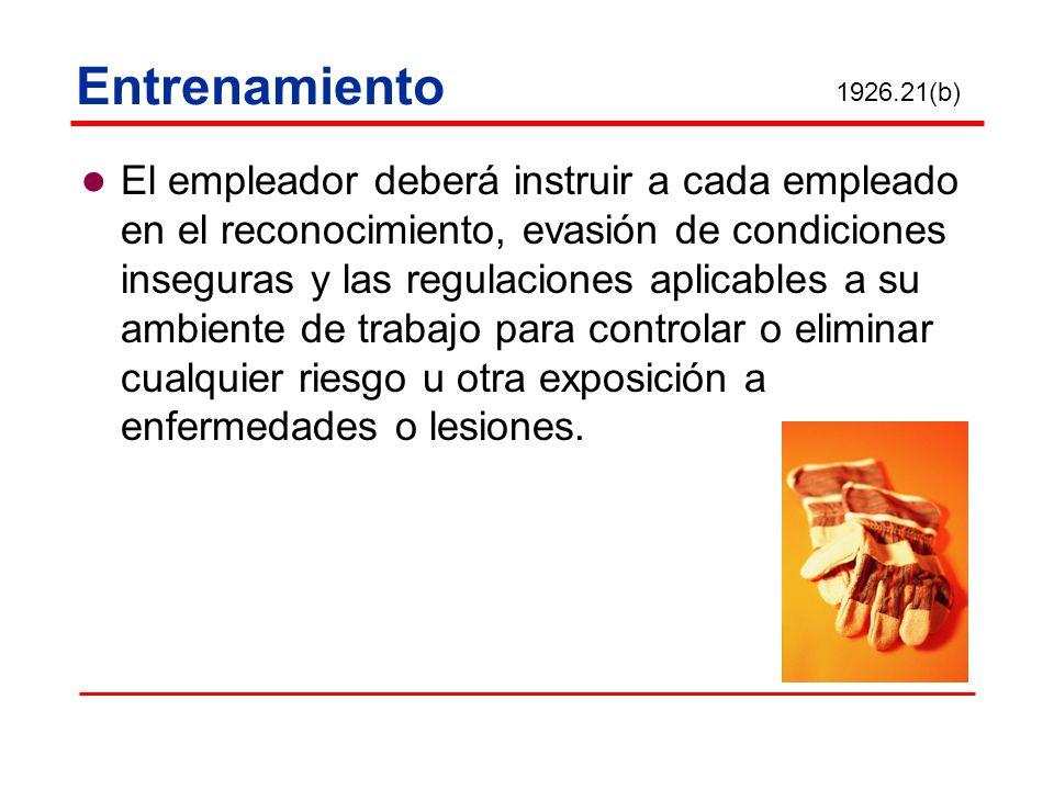 Entrenamiento 1926.21(b)
