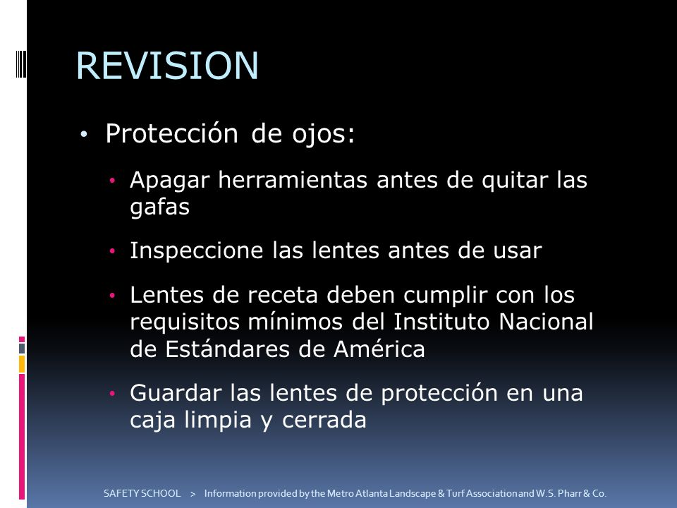 REVISION Protección de ojos:
