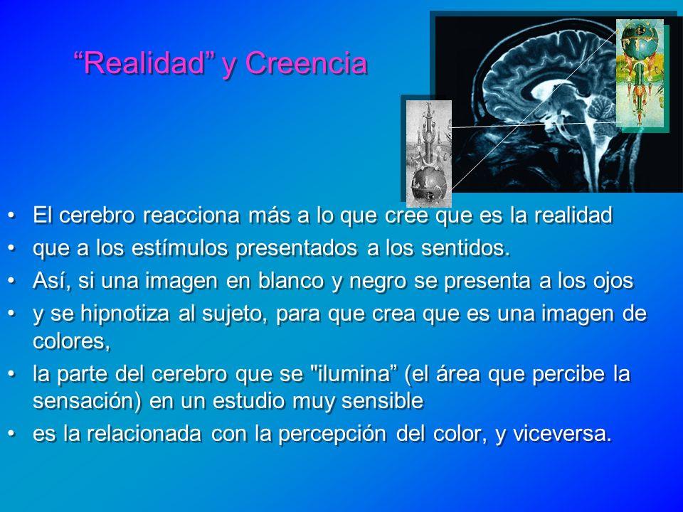 Realidad y Creencia El cerebro reacciona más a lo que cree que es la realidad. que a los estímulos presentados a los sentidos.