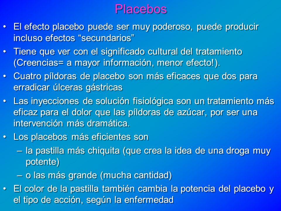 Placebos El efecto placebo puede ser muy poderoso, puede producir incluso efectos secundarios