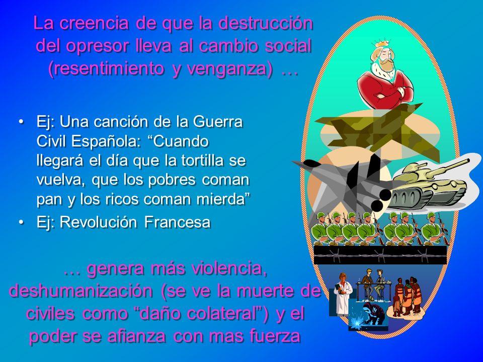 La creencia de que la destrucción del opresor lleva al cambio social (resentimiento y venganza) …