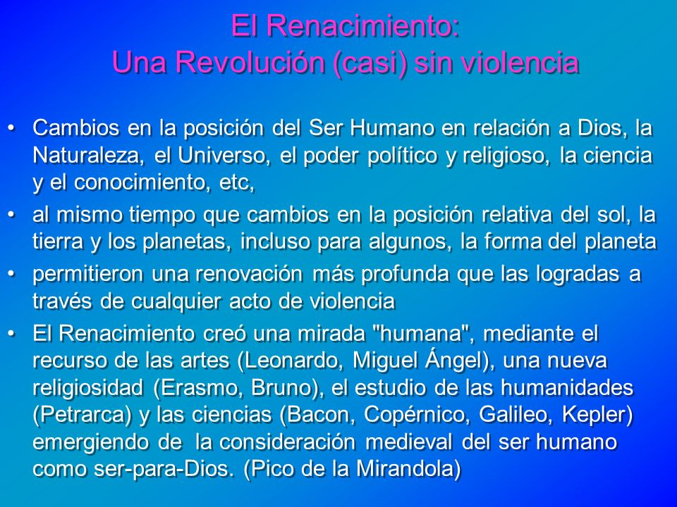 El Renacimiento: Una Revolución (casi) sin violencia