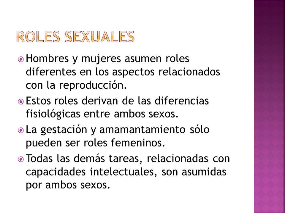 Roles Sexuales Hombres y mujeres asumen roles diferentes en los aspectos relacionados con la reproducción.