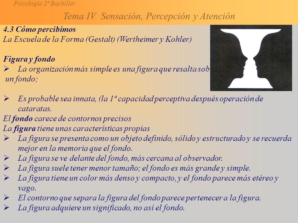 4.3 Cómo percibimos La Escuela de la Forma (Gestalt) (Wertheimer y Kohler) Figura y fondo.