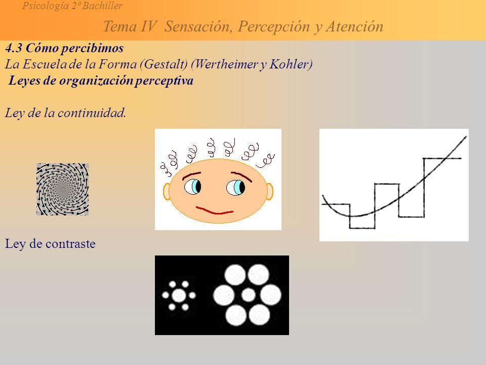4.3 Cómo percibimos La Escuela de la Forma (Gestalt) (Wertheimer y Kohler) Leyes de organización perceptiva.