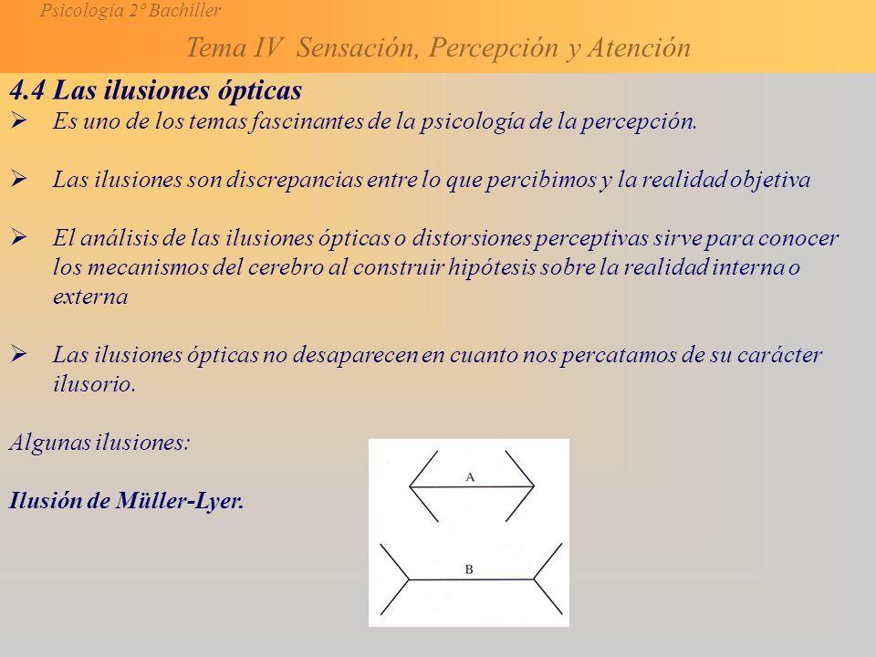 4.4 Las ilusiones ópticas Es uno de los temas fascinantes de la psicología de la percepción.