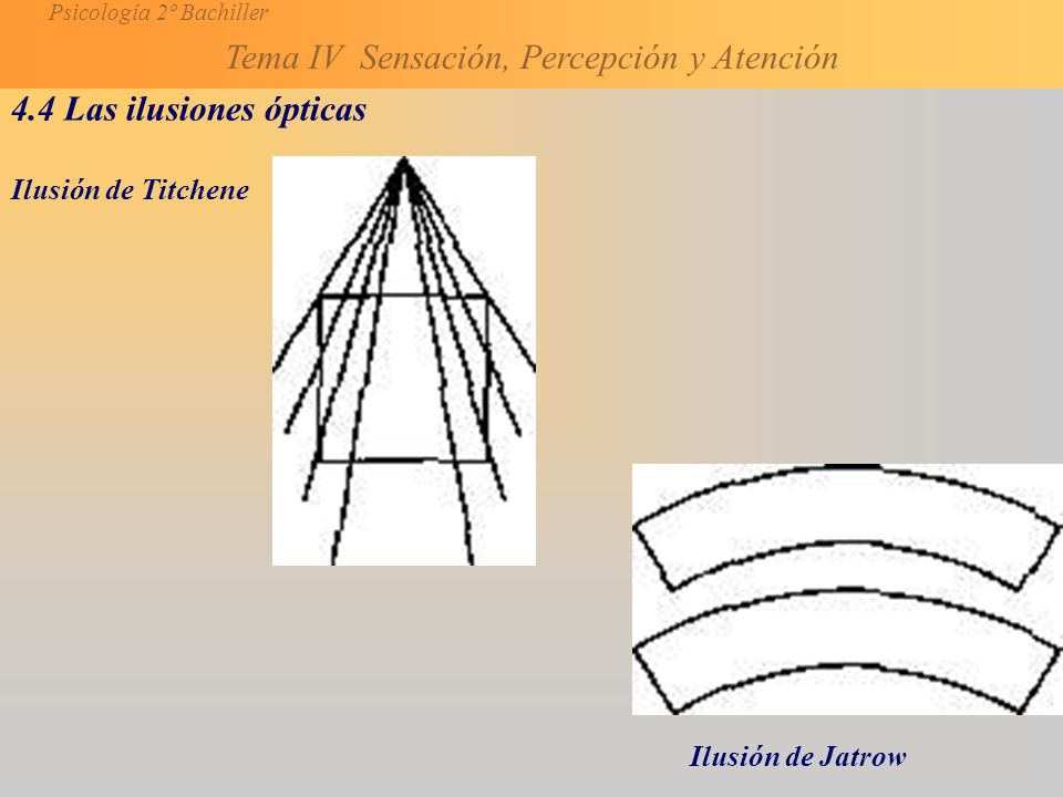 4.4 Las ilusiones ópticas Ilusión de Titchene Ilusión de Jatrow