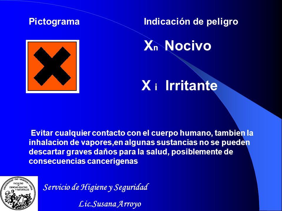 Xn Nocivo X i Irritante Pictograma Indicación de peligro