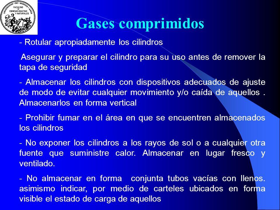 Gases comprimidos - Rotular apropiadamente los cilindros