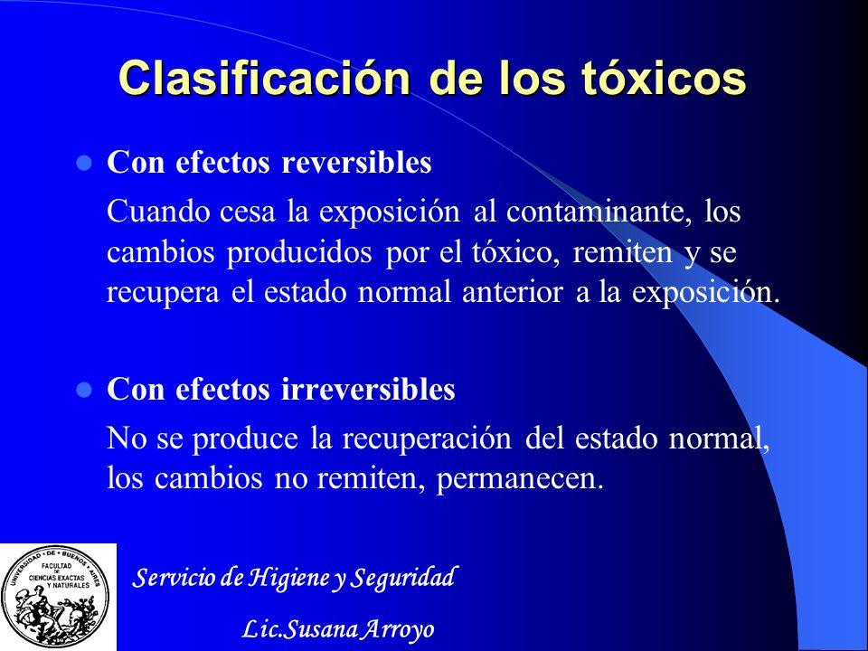 Clasificación de los tóxicos