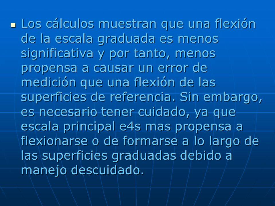 Los cálculos muestran que una flexión de la escala graduada es menos significativa y por tanto, menos propensa a causar un error de medición que una flexión de las superficies de referencia.