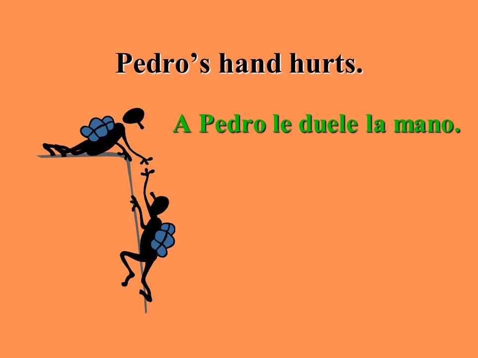Pedro's hand hurts. A Pedro le duele la mano.