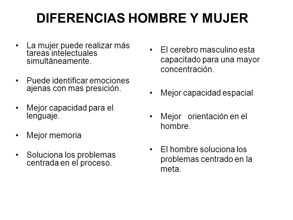 DIFERENCIAS HOMBRE Y MUJER