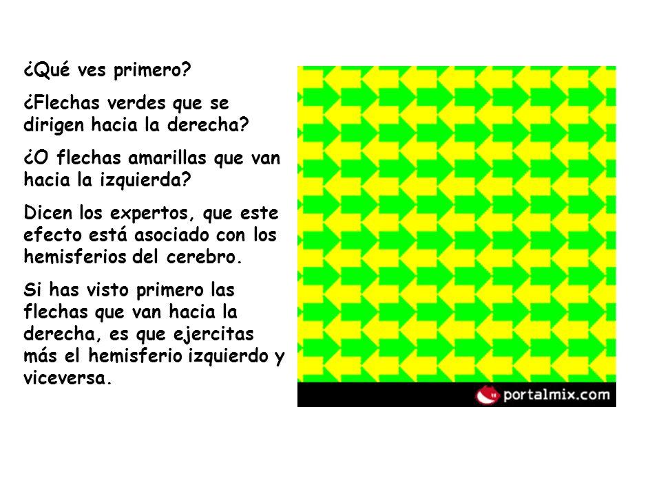 ¿Qué ves primero ¿Flechas verdes que se dirigen hacia la derecha ¿O flechas amarillas que van hacia la izquierda