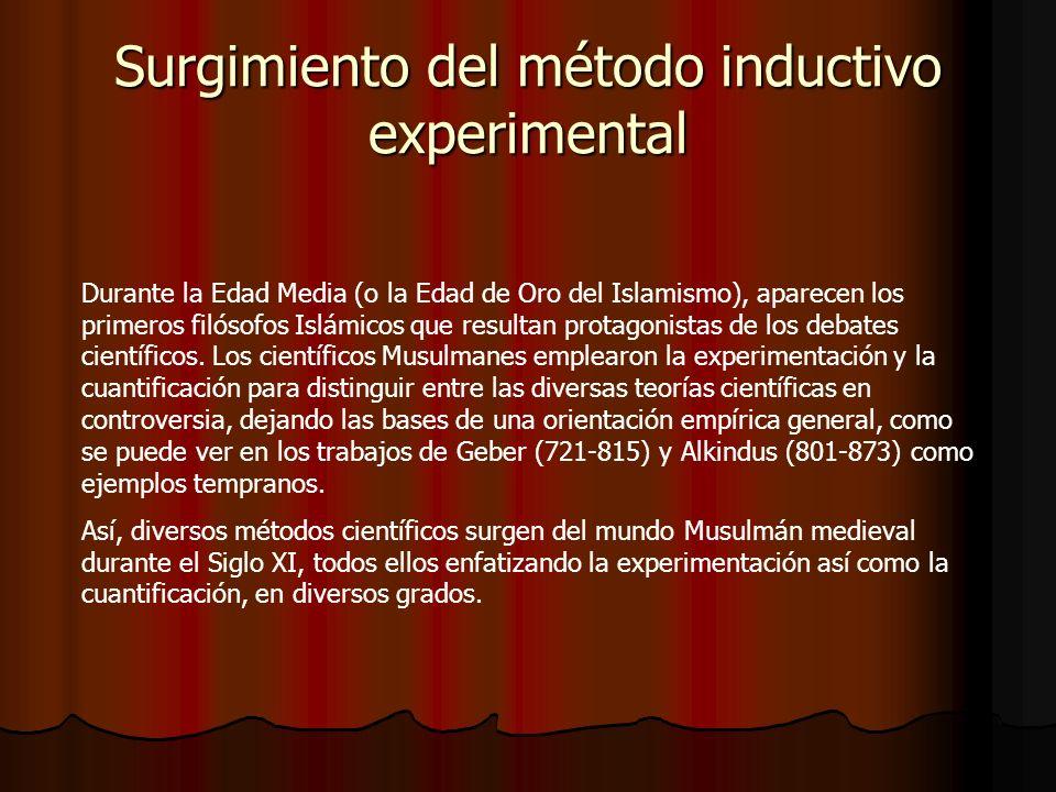 Surgimiento del método inductivo experimental