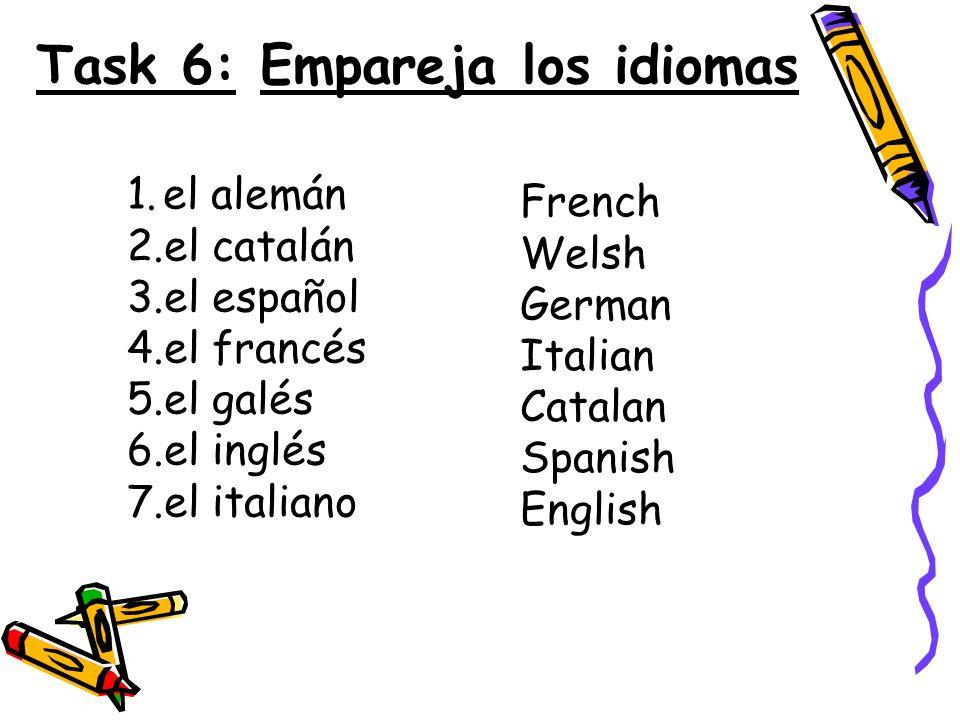 Task 6: Empareja los idiomas