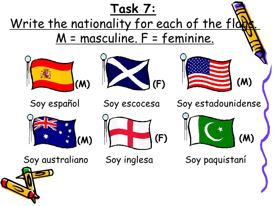 Write the nationality for each of the flags.